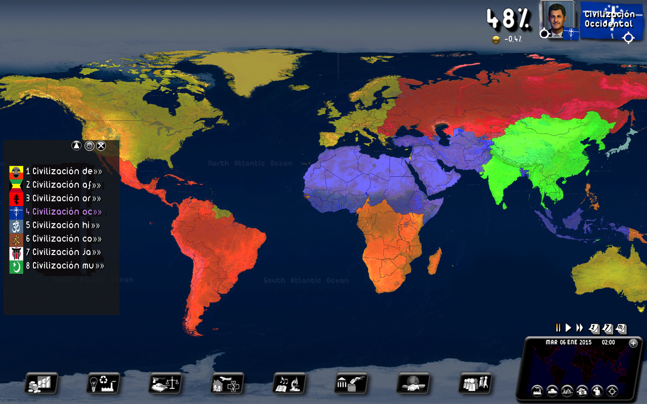 Play as one of the eight blocs of Huntington's clash of civilizations